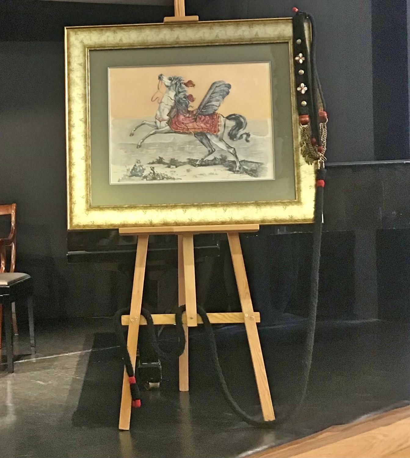 A painting by the painter Michał Siemiński with the image of a Hussar horse, based  on a drawing by Georg Eimart from 1678, photo: Hanna Sztuka